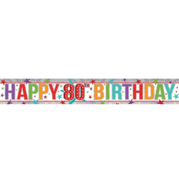 Holographic Multi Colour Happy 80th Birthday Foil Banner